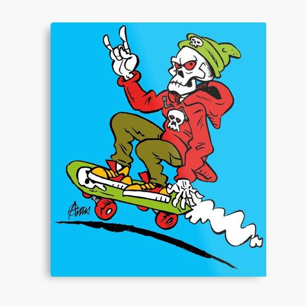 Skateboarding Punk Skull Metal Print