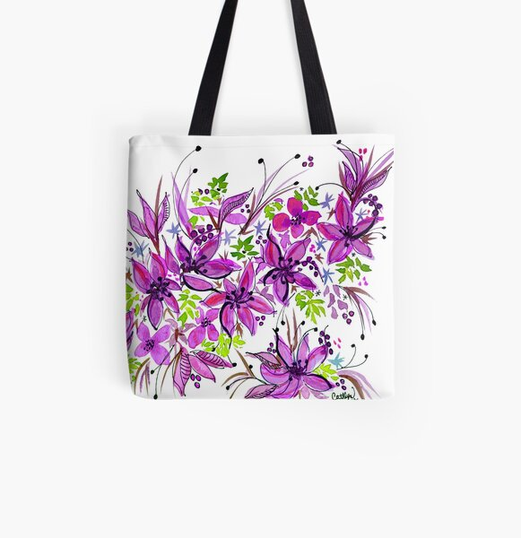 Hawaii Sings Pink with Flowers All Over Print Tote Bag