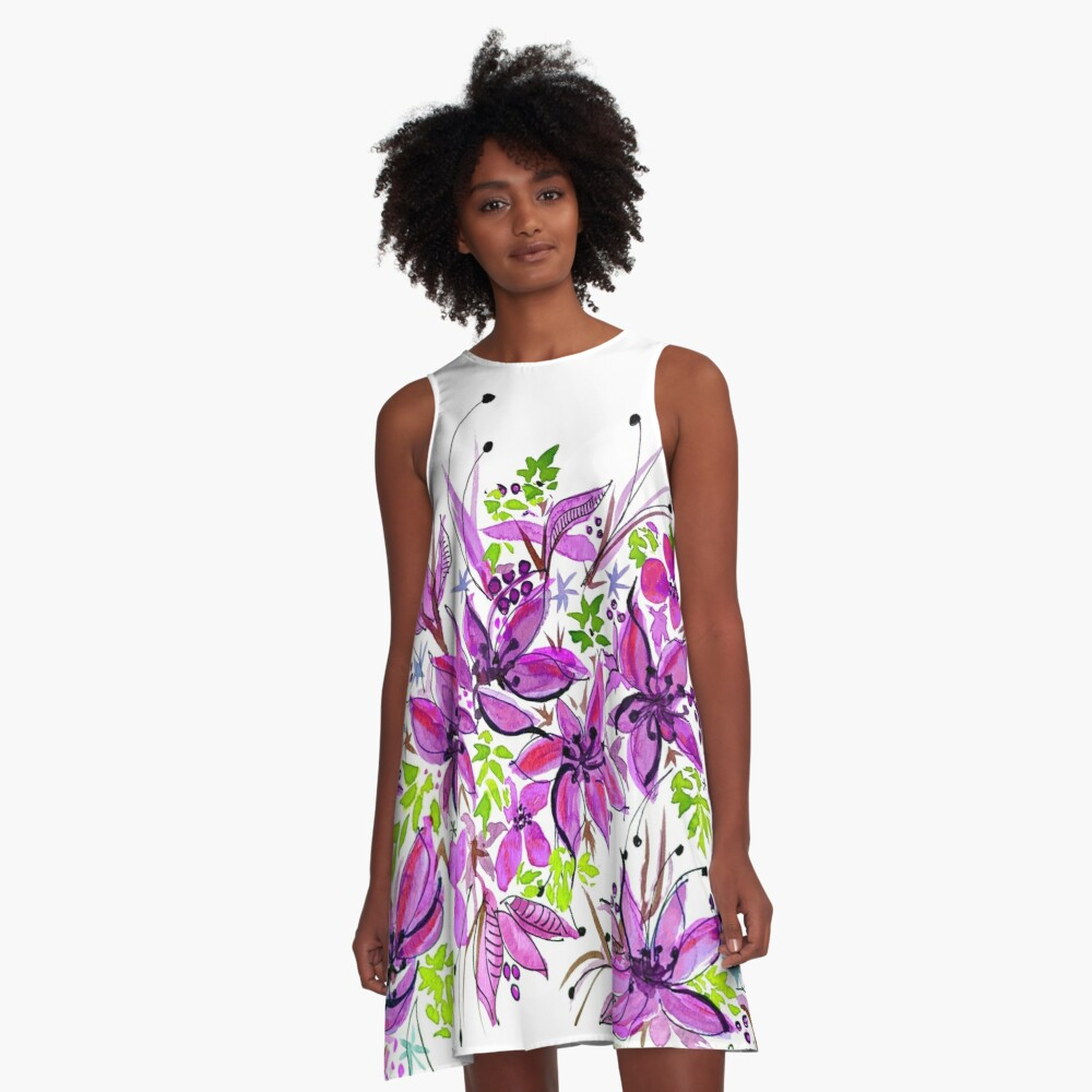 Hawaii Sings Pink with Flowers A-Line Dress