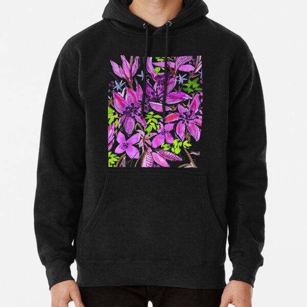 Hawaii Sings Pink with Flowers Pullover Hoodie