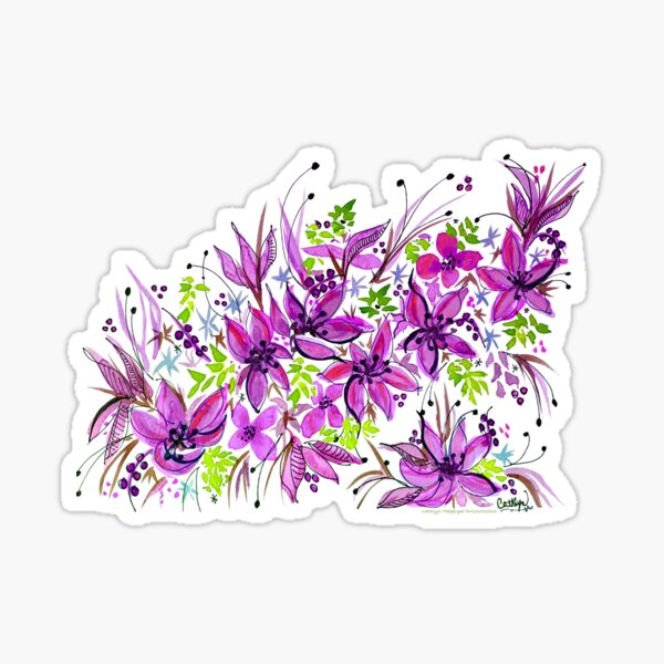 Hawaii Sings Pink with Flowers Sticker