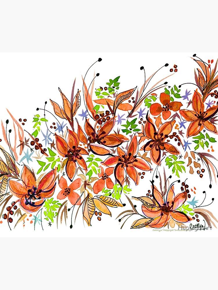 Hawaii Sings Orange with Flowers by HappigalArt
