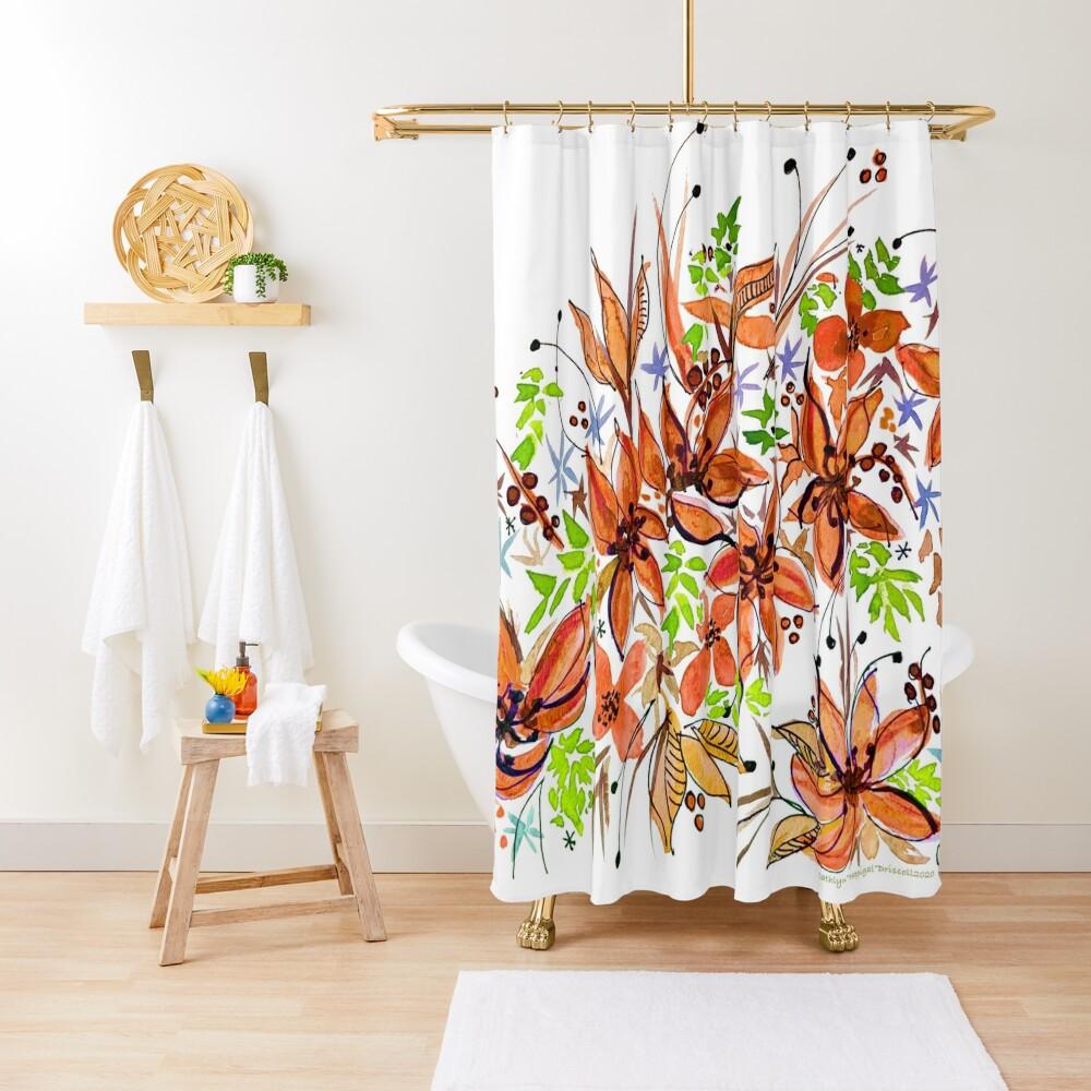 Hawaii Sings Orange with Flowers Shower Curtain