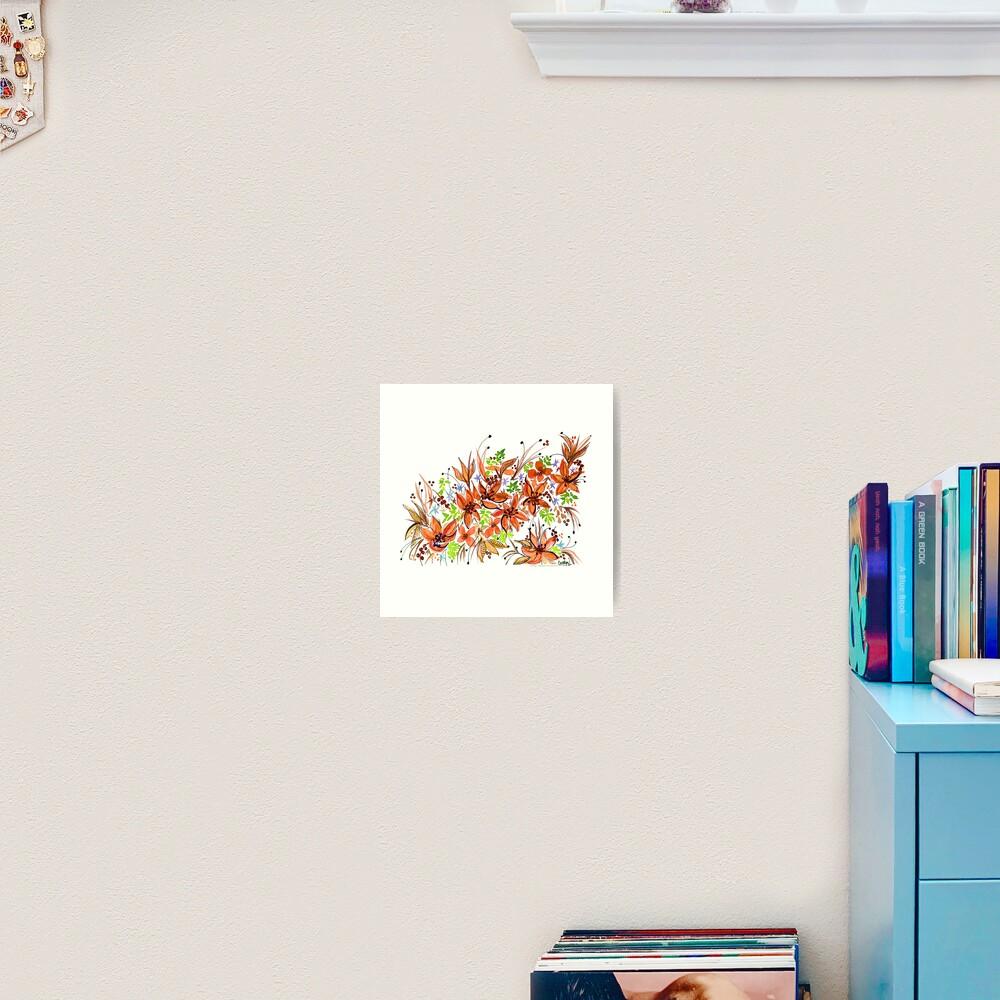Hawaii Sings Orange with Flowers Art Print