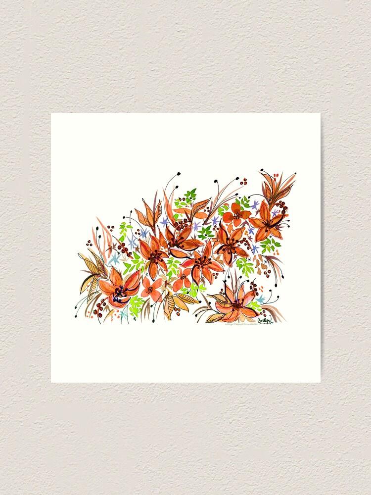 Alternate view of Hawaii Sings Orange with Flowers Art Print