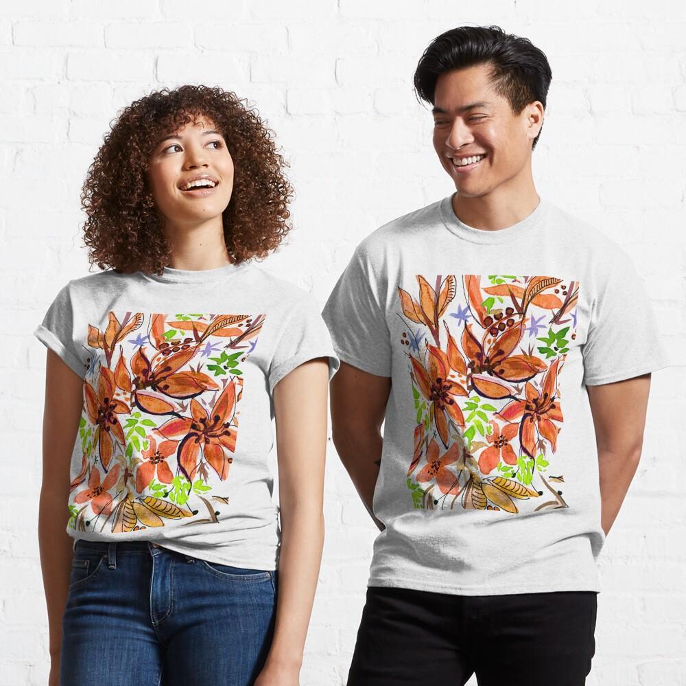 Hawaii Sings Orange with Flowers Classic T-Shirt