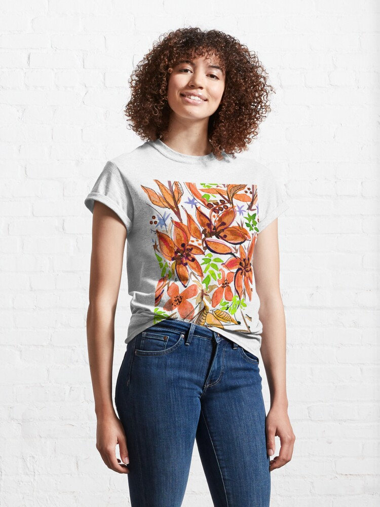 Alternate view of Hawaii Sings Orange with Flowers Classic T-Shirt