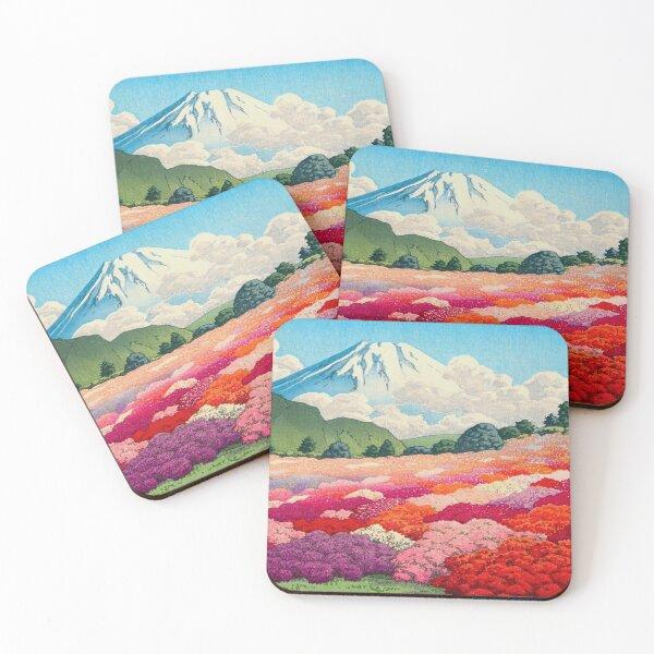 Hasui Kawase (Japanese, 1883 - 1957) Views of Mount Fuji Azalea Garden Vintage Japanese Woodblock Print Coasters (Set of 4)