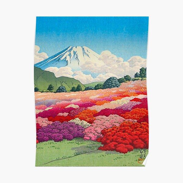 Hasui Kawase (Japanese, 1883 - 1957) Views of Mount Fuji Azalea Garden Vintage Japanese Woodblock Print Poster