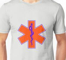 Ambulance Orange and Blue Star of Life Unisex T-Shirt