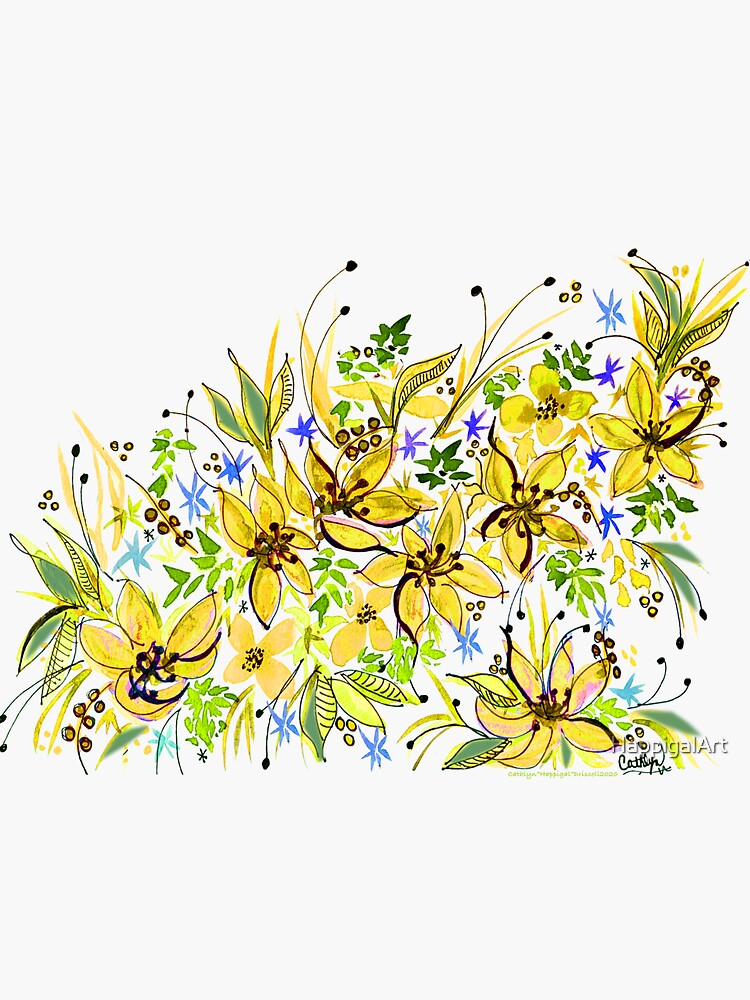 Hawaii Sings Yellow with Flowers by HappigalArt
