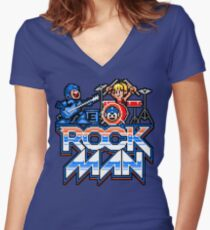 Rock, Man! Women's Fitted V-Neck T-Shirt