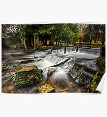 Kearsney Abbey Waterfall.  Poster