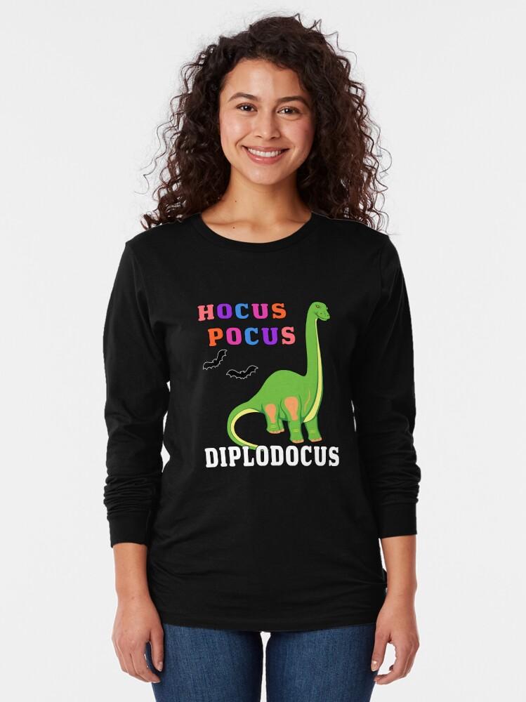 Alternate view of Hocus Pocus Diplodocus Prehistoric Dinosaur Spooky Bat. Long Sleeve T-Shirt