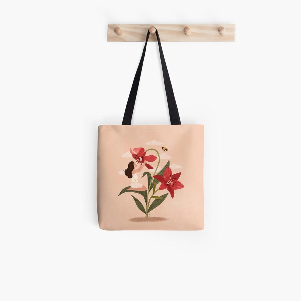 Girl and Lilies Tote Bag