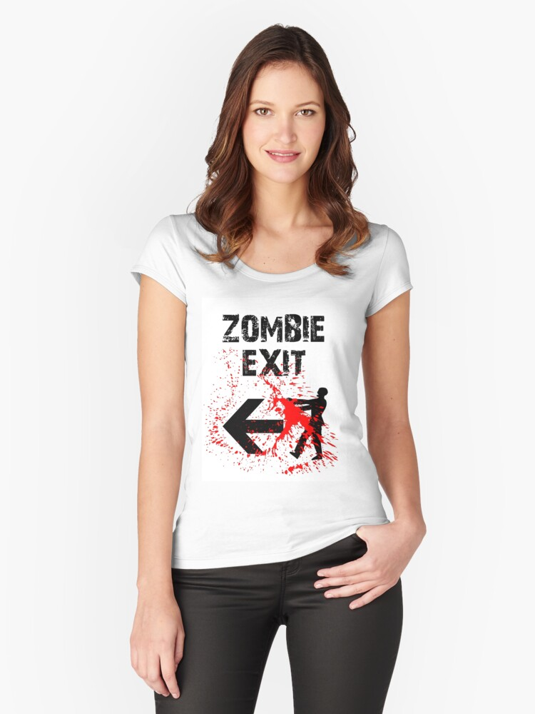 ZOMBIE EXIT SIGN by Zombie Ghetto Women's Fitted Scoop T-Shirt Front