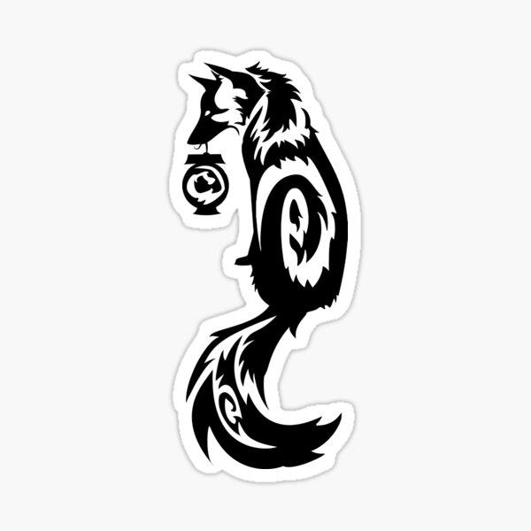 Fox Kitsune Tribal with Spirit Lantern Sticker