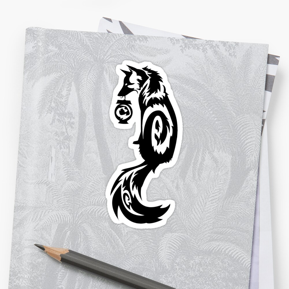 Fox Kitsune Tribal with Spirit Lantern by Stormslegacy