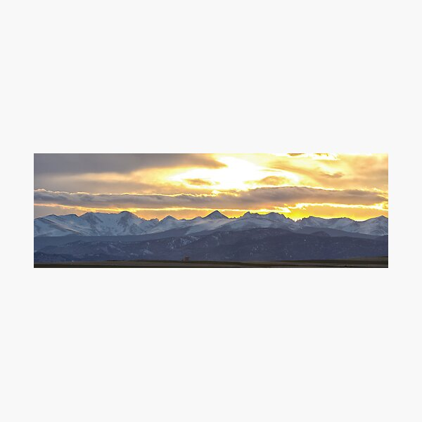 Colorado Front Range Panorama Gold Photographic Print