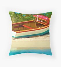Beached Fishing Boat of the Caribbean Throw Pillow