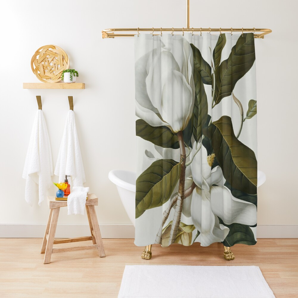 VINTAGE BOTANICAL MAGNOLIA Shower Curtain