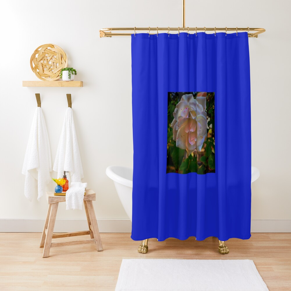 White roses on a Blue  sky By Yannis Lobaina  Shower Curtain