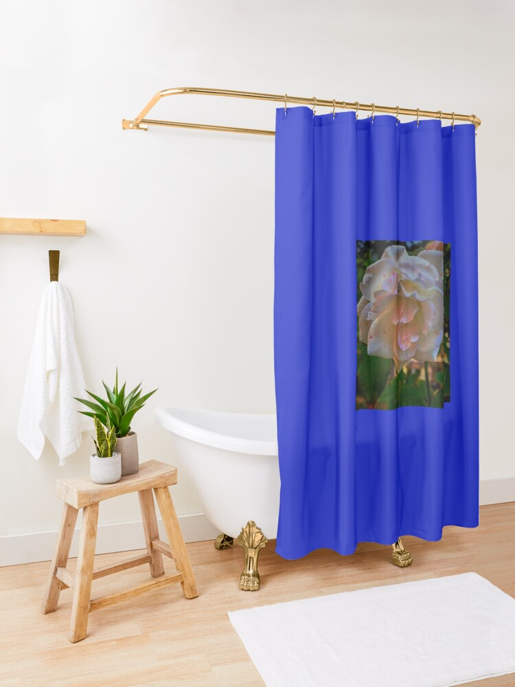 Alternate view of White roses on a Blue  sky By Yannis Lobaina  Shower Curtain
