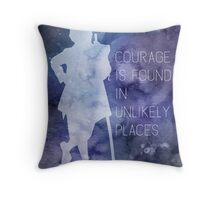 Tolkien Quote - Courage Is Found In Unlikely Places Throw Pillow