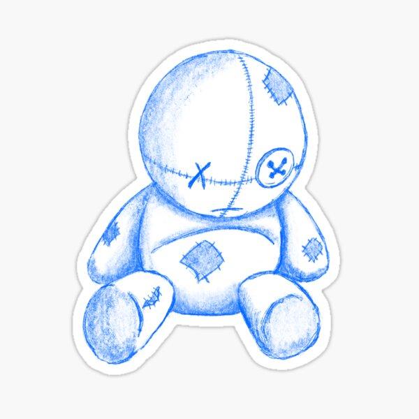 Worn Teddy Bear Sketch Sticker