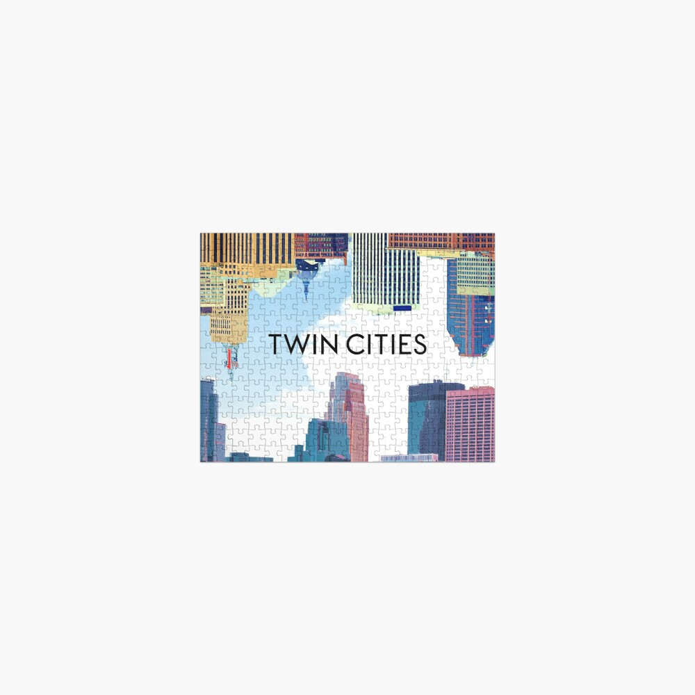 Twin Cities Minneapolis and Saint Paul Minnesota Skyline Jigsaw Puzzle