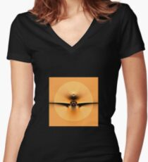 Fly to the Sun on Golden Wing Women's Fitted V-Neck T-Shirt