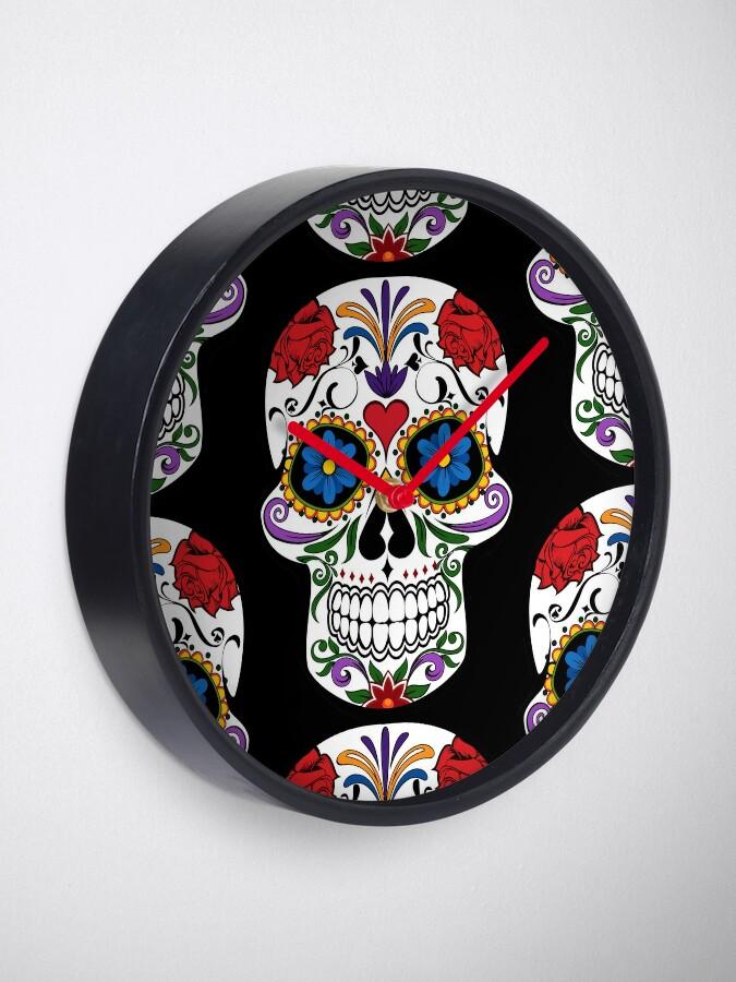 Alternate view of Sugar Skull   Day of the Dead Floral Skull Clock