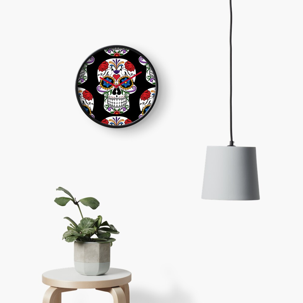 Sugar Skull   Day of the Dead Floral Skull Clock
