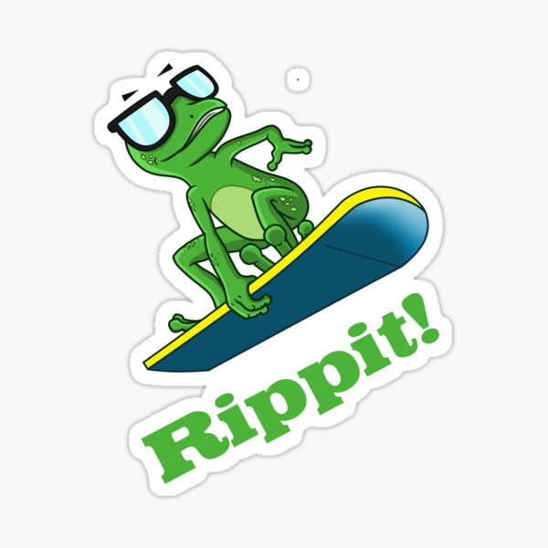 Cool frog on a snowboard.  Sticker