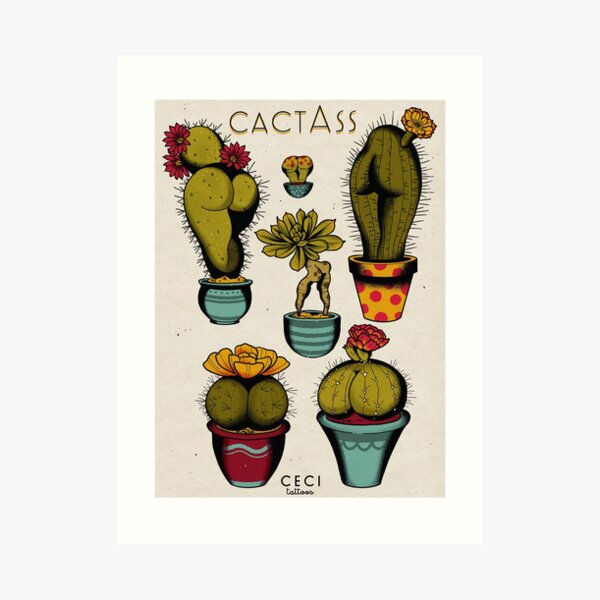 CactAss tattoo flash Art Print