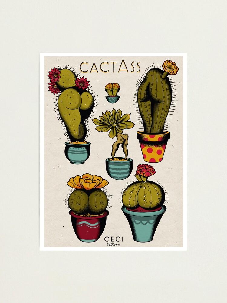 Alternate view of CactAss tattoo flash Photographic Print