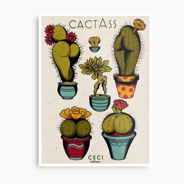 CactAss tattoo flash Metal Print