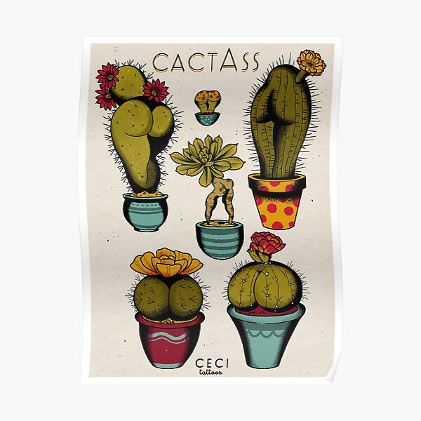 CactAss tattoo flash Poster