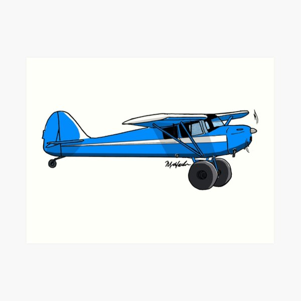 Blue and White Bush Plane Art Print
