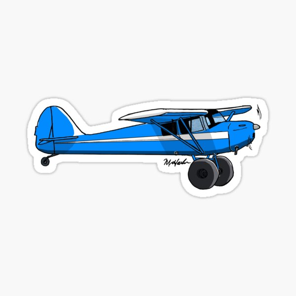 Blue and White Bush Plane Sticker