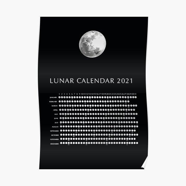 Lunar Calendar 2021, NY USA time zone Poster