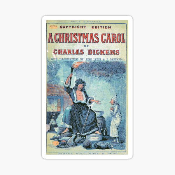 """Vintage Cover of """"A Christmas Carol"""" by Charles Dickens"""" (1886) Sticker"""
