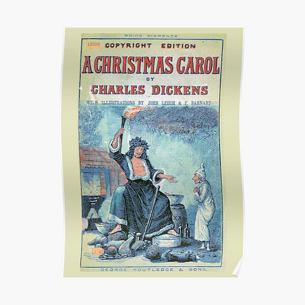 """Vintage Cover of """"A Christmas Carol"""" by Charles Dickens"""" (1886) Poster"""