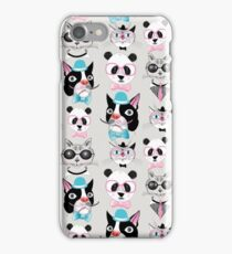 pattern of retro hipster animal portraits  iPhone Case/Skin