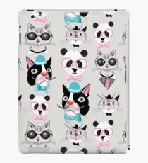 pattern of retro hipster animal portraits  iPad Case/Skin