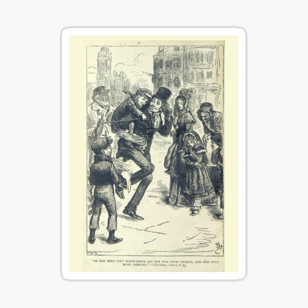 """""""Bob Cratchit and Tiny Time"""" Vintage Cover of """"A Christmas Carol"""" by Charles Dickens"""" (1886) Sticker"""