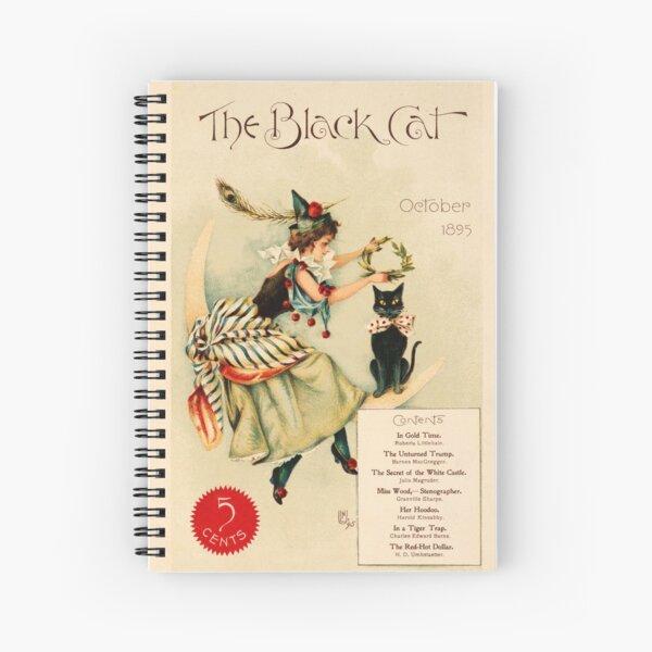 Vintage Illustration, The Black Cat October 1895, Shortstory Publishing Cover Illustration Spiral Notebook