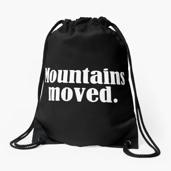 Law of Attraction - Mountains moved (Reverse Black) Drawstring Bag