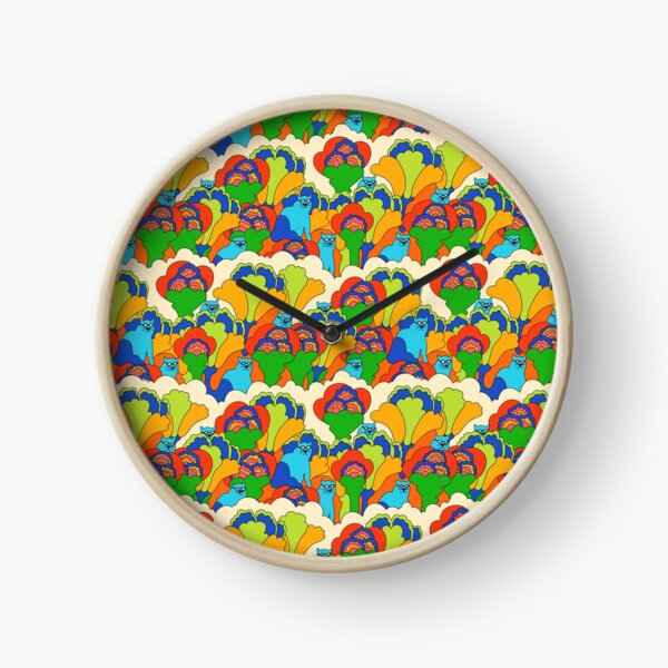 Psychedelic blue cats Clock