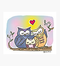Owl family love - Dad, Mom, and Baby Photographic Print